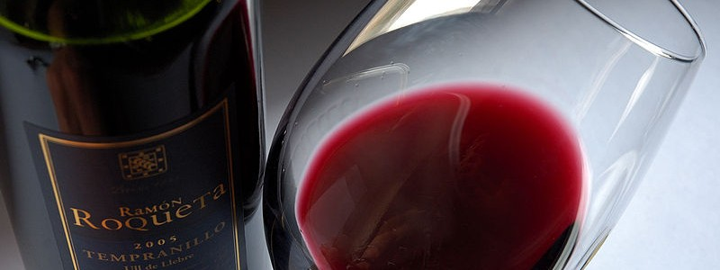 glass of red wine from wine tasting